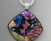 Square Dichroic Glass Necklace, Dichroic Jewelry, Statement Necklace, Zentangle Glass Pendant, Hand Etched Pendant - Butterfly Pendant