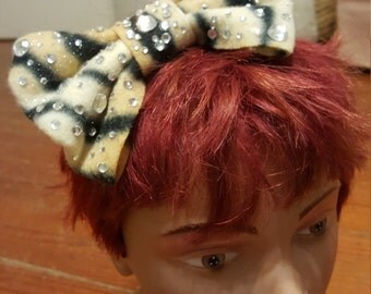 Cat Lady Diamond Bling Handmade Giant Bow Headband by IM.BUTTERFLYCREATIONS