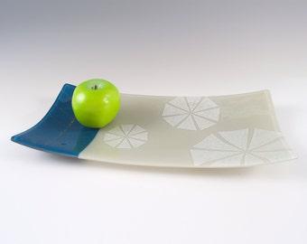 Arrow Fused Glass Serving Platter, Geometric, Chevron, Pretty