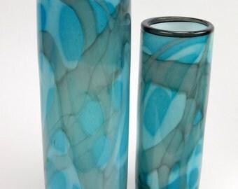 Home Decor Santorini Blues Decorative Hand Blown Art Glass Vase by Rebecca Zhukov