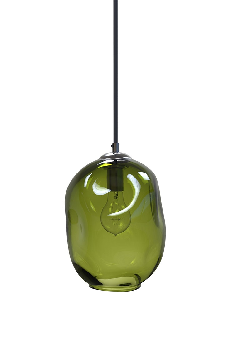 Olive River Rock Hand Blown Glass Pendant Light Lighting Glass