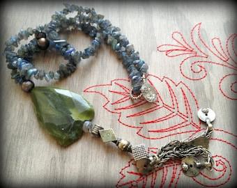 Field of Green, Sea of Blue Long Labradorite Necklace