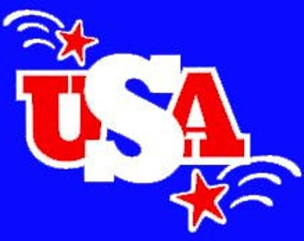 Two color USA Decal with shooting stars