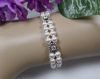 White Pearl Bridal Bracelet Pearl Bracelet Cuff Bracelet Wedding Jewelry