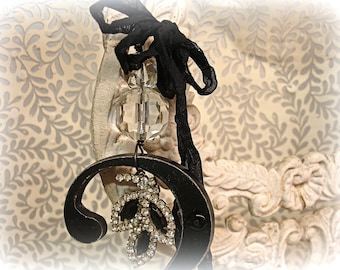 numerology . one of a kind chandie ornament vintage assemblage the number 2 vintage rhinestones and chandelier crystals