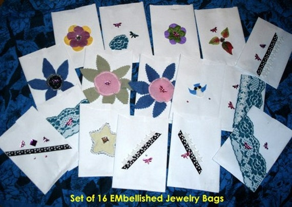 """Jewelry Bags, Boho Embellished, 4 x 5.75"""", Handmade, Set 16"""