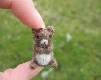 Needle Felted Miniature Brown Bear Tiny Figure