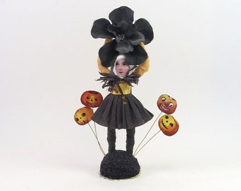 Vintage Inspired Spun Cotton Halloween Flower Girl Limited Edition Figure