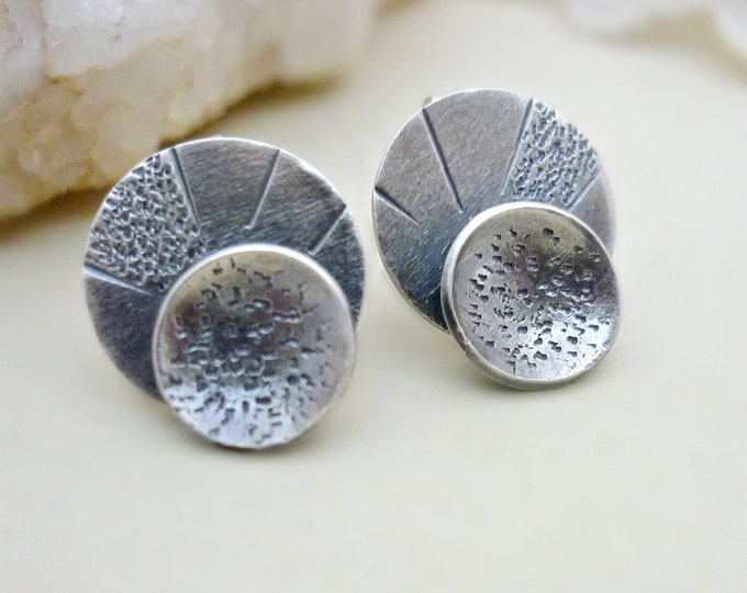 Layered Circles Sterling Silver Medium Post Earrings