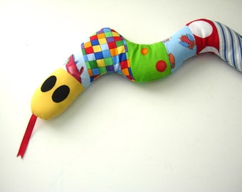 Slither the SNAKE baby TOY - patchwork fabrics - toddler baby fabric toy snake - unique gift for shower / birthday - soft