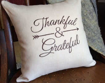 Thanksgiving pillow cover- Thankful and Grateful- Custom colour option