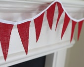 White and Red Burlap Valentines, Christmas decoration. Fabric sewn Burlap flag Banner. Photo prop. 12 Pennant flags DIY customize