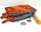 Floral zipper pouch, Coin credit card purse, zipper wallet, edeenut front ruffle, gift card holder Chapstick minimalist pocket wallet Gray
