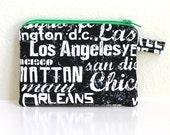 MINI. black grafitti credit card zipper pouch. city names coin purse. New York, LA, Beach, Chalk board writing, washington DC, Texas