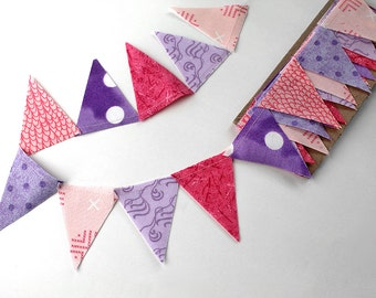 Princess party mini pennant flags. Pink wedding Bunting, Pruple party decoration. polkadot fabric sewn flag banner. Lilac Photo prop.