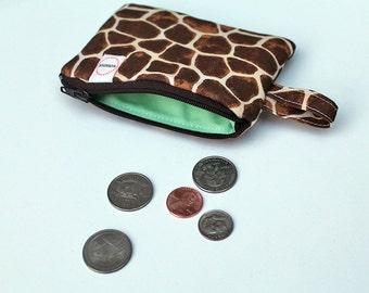 Giraffe coin pouch, Zipper pouch, Mini zipper pouch, Jewlery travel case, key fob finger loop, change purse, pocket wallet, Makeup bag