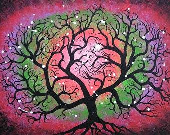 FREE SHIPPING, Original Acrylic painting, Abstract Tree painting by Jordanka Yaretz, UNICEF Artist
