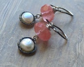 Pearl & Cherry Quartz Earrings