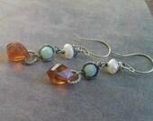 Citrine, Amazonite & Freshwater Pearl Earrings