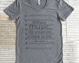 SALE - women's size LARGE - Music T-shirt - Jane Austen - Emma
