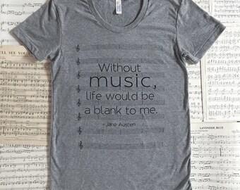 Music T-shirt - S, M, L, XL, 2XL - women's and unisex sizes - Jane Austen - Emma