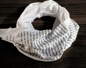 SUMMER SALE - Captain Wentworth's Letter - Persuasion scarf - white with black ink - Jane Austen