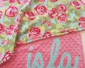 BABY/TODDLER size SewSara Name Blanket - personalized minky blanket - Amy Butler roses