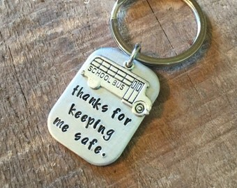 Thank you for keeping me safe-Bus driver keychain-end of the year bus driver gift-school bus driver