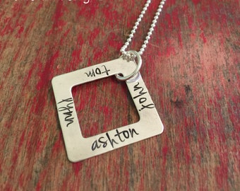 mothers day gift-Personalized square washer necklace-hand stamped washer necklace-custom name necklace-longer length necklace