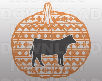 Show Heifer Aztec Pumpkin SVG File - 4H SVG File - Stock Show SVG File -Vector Art for Commercial & Personal Use -Cricut,Silhouette,Vinyl