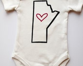 Baby onesie. Manitoba outline with heart. Silk screened childrens sleeper.
