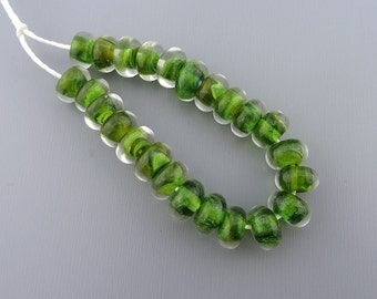 Green Encased Petite Spacers - SRA handmade glass lampwork beads Lori&Kim