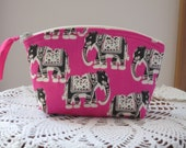 Wedding Bridal Clutch Cosmetic Bag  Purse Elephants in Pink  Made in USA Essental Oil case