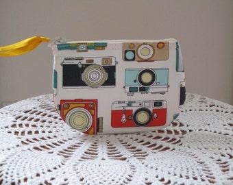 Coin/Business Card Clutch Zipper Case Vintage Camera Bag