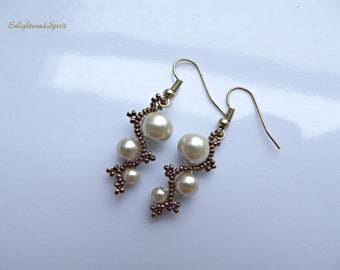 Ivory and bronze earrings, glass pearls, victorian, antique look, spiral, scrolls, bead weaving