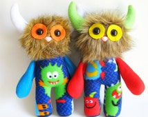 Blue Green Orange Monster Doll PlushToy Stuffed Animal Toy Handmade Toys Boy Gifts Girls Toys Gifts for Nephew Gift for Niece Colorful Toy