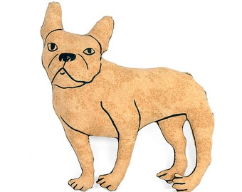 french bulldog shaped large decorative pillow tan leaf pattern fabric hand drawn plush animal softie
