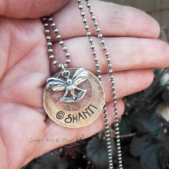 Yoga Fairy Necklace Breathe Necklace Ohm Personalized
