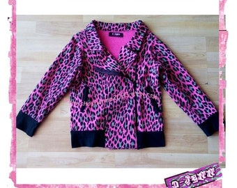 D-Jenn Kidswear Line Pink Leopard French Terry Motorcycle Jacket  Made To Order CHILDREN
