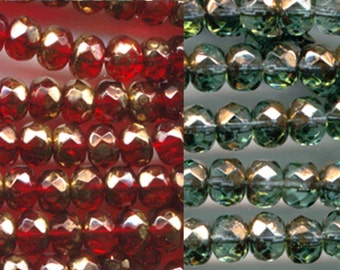 25 Gemstone Donuts Round Spacers Czech Glass Faceted Beads 4 mm x 6 mm Choose your color