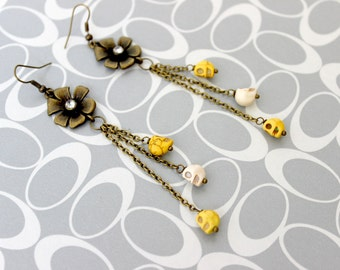 Pretty Garden Skull Earrings - Kaci Corax Collection