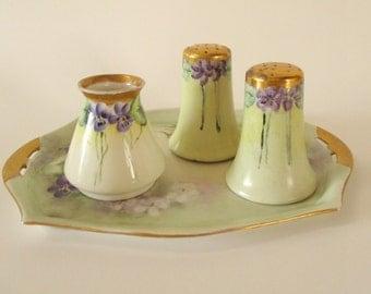 Antique Salt, Pepper and Creamer Set, Handpainted Porcelain