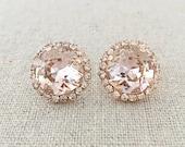 Swarovski Crystal Post Earrings, Blush Pink Cushion Cut, Faux Diamond Pave Halo, Faux Morganite Rose Gold Bridal Jewelry, Bridesmaids Gifts