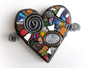 Lil' Love Heart. (Small Handmade Original Heart With Wings Mixed Media Mosaic by Shawn DuBois)
