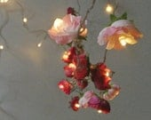 RESERVED for DBGIGI - Bohemian Garden Mixed Rose Fairy Lights  Pretty Flower String Lighting in Red and Pinks