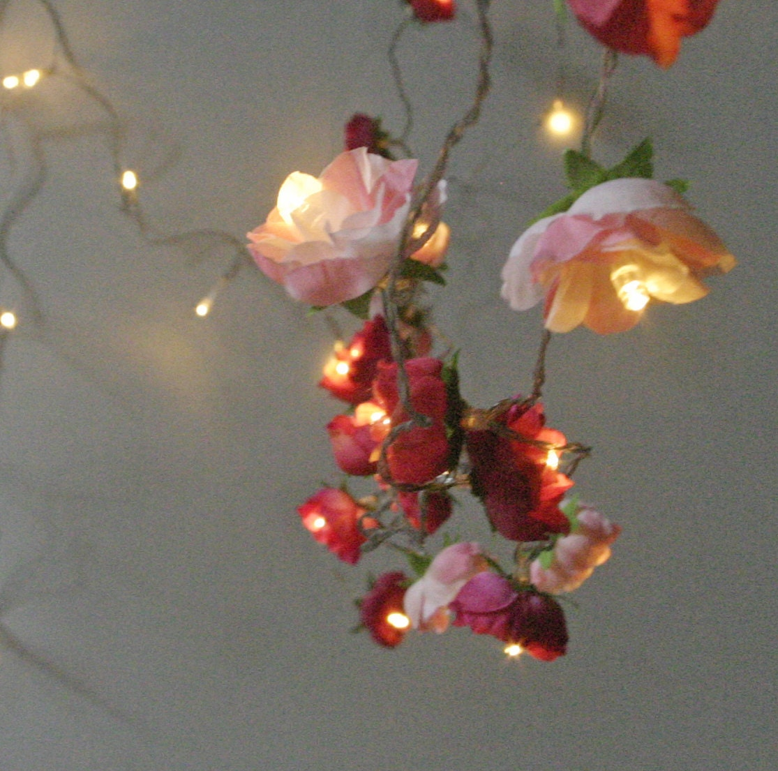 bohemian garden mixed rose fairy lights pretty flower string. Black Bedroom Furniture Sets. Home Design Ideas