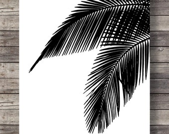 Palm leaves   Graphic art print   Black and white   Modern minimalist art   Tropical art print   Botanical illustration   Printable wall art