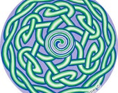 Cosmic Circle, Window Cling, Bird safe window, Sacred Geometry, Triple Spiral, Celtic, Pagan, Triskele, Art sticker, EcoFriendly, Prosperity
