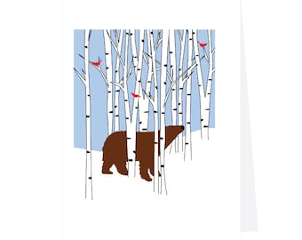 greeting cards brown bear in white birches with cardinals holiday cards