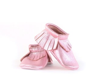 Baby Moccasins- Pink Leather